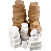 Boîtes - Achat en gros, dim. 6,5-18 cm, brun, blanc, 30 pièce/ 1 set