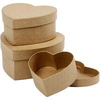 Boîtes coeurs, H: 5+6,5+7,5 cm, d: 10+12,5+15 cm, 3 pièce/ 1 set