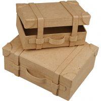 Mini valises vintage, H: 4,5+5 cm, L: 7.5+10 cm, L: 11+14 cm, 2 pièce/ 1 set