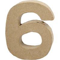 Chiffre, 6, H: 10 cm, L: 8,2 cm, ép. 1,7 cm, 1 pièce