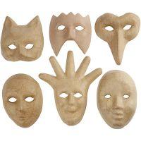 Masques, H: 12-21 cm, 6 pièce/ 1 Pq.