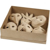 Masques, H: 12-21 cm, 60 pièce/ 1 Pq.