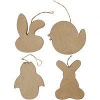 Décoration de Pâques à suspendre, tête de lapin, poulet, poulet en oeuf et lapin, H: 10 cm, 4 pièce/ 1 Pq.