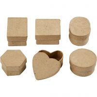 Petites boîtes, H: 3 cm, d: 4-6 cm, 6 pièce/ 1 Pq.