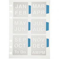 Pochoir, les mois de l'année, 12,5x17,5 cm, 1 flles