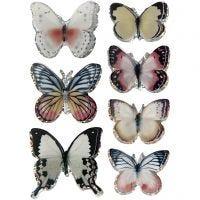 Autocollants 3D, papillons, dim. 26-48 mm, couleurs assorties, 7 pièce/ 1 Pq.