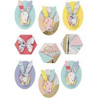 Autocollants 3D, lapins, H: 30-45 mm, L: 32-35 mm, 9 pièce/ 1 Pq.