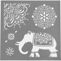 Pochoir, motifs ethniques, dim. 30,5x30,5 cm, ép. 0,31 mm, 1 flles