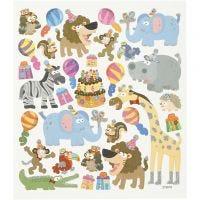 Autocollants, anniversaire des animaux, 15x16,5 cm, 1 flles