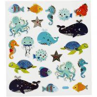Autocollants, animaux marins, 15x16,5 cm, 1 flles