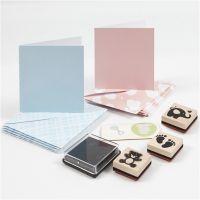 Paquet de cartes bébé, bleu clair, rouge clair, 1 set