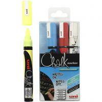 Feutre à craie, chalk, trait 1,8-2,5 mm, bleu, rouge, blanc, jaune, 4 pièce/ 1 Pq.