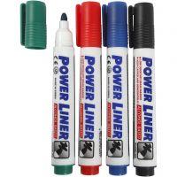 Feutres pour tableau blanc, trait 4 mm, noir, bleu, vert, rouge, 4 pièce/ 1 Pq.