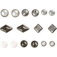 Rivets décoratifs, dim. 8-18 mm, blanc, 16 pièce/ 1 Pq.