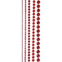 Demies perles, dim. 2-8 mm, rouge, 140 pièce/ 1 Pq.