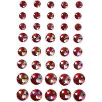 Pierres de strass, dim. 6+8+10 mm, rouge, 40 pièce/ 1 Pq.