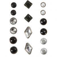 Rivets décoratifs, dim. 8-18 mm, noir, 16 pièce/ 1 Pq.