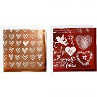 Film décoratif et feuille transfert, coeurs et amour, 15x15 cm, rouge, 2x2 flles/ 1 Pq.