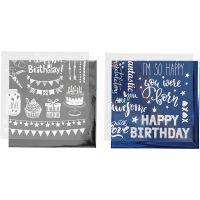 Film décoratif et feuille transfert, anniversaire, 15x15 cm, bleu foncé, argent, 2x2 flles/ 1 Pq.