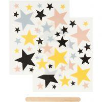 Décalcomanies, étoiles, 12,2x15,3 cm, 1 Pq.