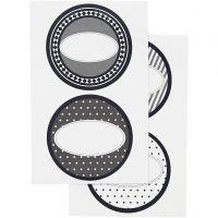 Stickers, d: 4 cm, 9x14 cm, 4 flles ass./ 1 Pq.