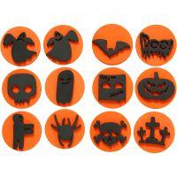 Tampons en mousse, Halloween, d: 7,5 cm, ép. 2,5 cm, 6 pièce/ 1 Pq.