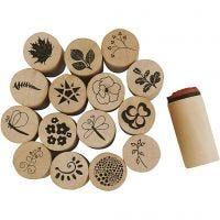 Timbres Déco Art, Fleurs et feuilles, H: 26 mm, d: 20 mm, 15 pièce/ 1 Pq.