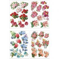 Motifs 3D, fleurs, 21x30 cm, 4 flles/ 1 Pq.
