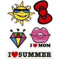 Autocollants souples, I Love Mom, 12,2x17,75 cm, 1 flles