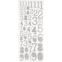 Autocollants scintillants, chiffres, 10x24 cm, argent, 2 flles/ 1 Pq.