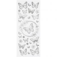 Autocollants étoiles, papillons, 10x24 cm, argent, 1 flles