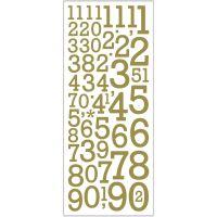 Autocollants scintillants, chiffres, 10x24 cm, or, 2 flles/ 1 Pq.