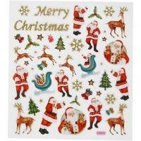 Autocollants, Père Noël et rennes, 15x16,5 cm, 1 flles