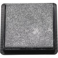 Tampon encreur, dim. 40x40 mm, argent, 1 pièce