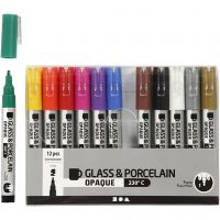 Feutre pour verre et porcelaine, trait 1-2 mm, semi opaque, couleurs assorties, 12 pièce/ 1 Pq.