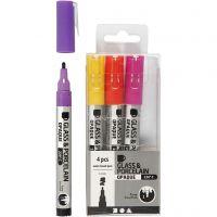 Feutre pour verre et porcelaine, trait 1-2 mm, semi opaque, orange, violet, rouge clair, jaune, 4 pièce/ 1 Pq.