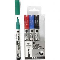 Feutre pour verre et porcelaine, trait 1-2 mm, semi opaque, noir, bleu, vert, rouge, 4 pièce/ 1 Pq.