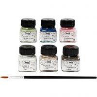 Peinture pour verre et porcelaine, couleurs assorties, 6x20 ml/ 1 Pq.