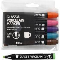 Feutre pour verre et porcelaine, trait 1-3 mm, semi opaque, couleur extra, 6 pièce/ 1 Pq.