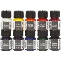 Glass Color transparente, couleurs assorties, 10x30 ml/ 1 Pq.