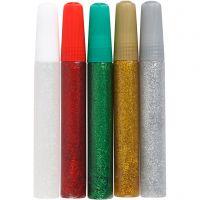 Colle à paillettes, couleurs assorties, 5x10 ml/ 1 Pq.