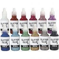 Colle à paillettes, couleurs assorties, 12x25 ml/ 1 Pq.