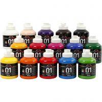 Peinture acrylique A-Color, brillante, couleurs assorties, 15x500 ml/ 1 boîte