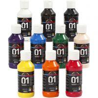 Peinture acrylique A-Color, brillante, couleurs assorties, 10x100 ml/ 1 Pq.