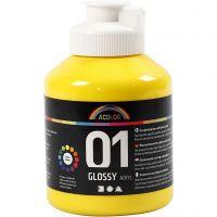 Peinture acrylique A-Color, brillante, jaune primaire, 500 ml/ 1 flacon