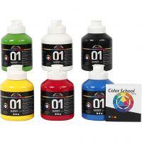 Peinture acrylique A-Color, brillante, couleur primaire, 6x500 ml/ 1 Pq.