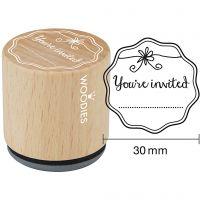 Tampon en bois, You're invited , H: 35 mm, d: 30 mm, 1 pièce