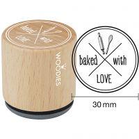 Tampon en bois, baked with LOVE , H: 35 mm, d: 30 mm, 1 pièce