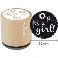 Tampon en bois, It's a girl , H: 35 mm, d: 30 mm, 1 pièce