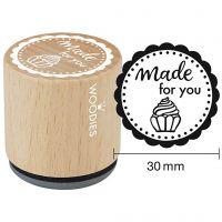 Tampon en bois, made for you, H: 35 mm, d: 30 mm, 1 pièce